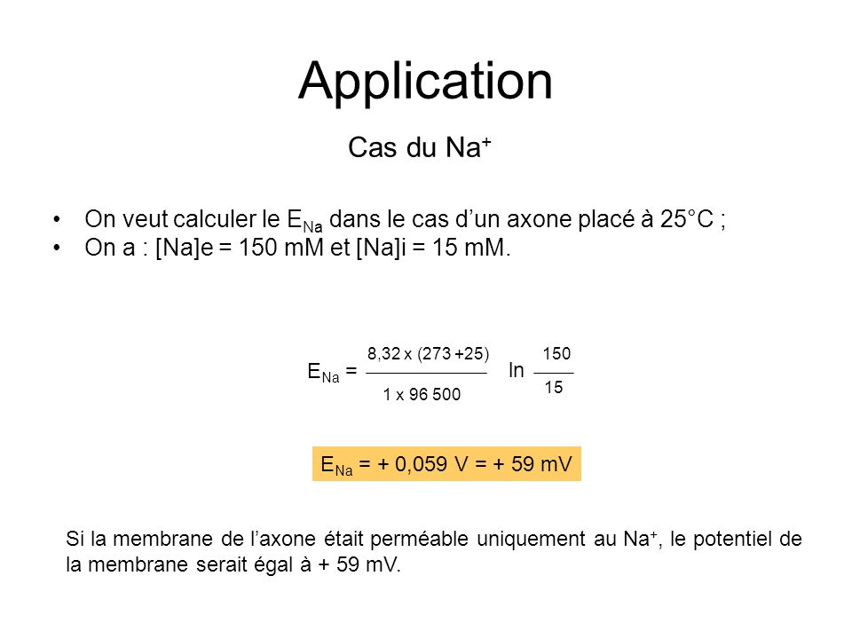 Application Cas du Na+ On veut calculer le ENa dans le cas d'un axone placé à 25°C ; On a : [Na]e = 150 mM et [Na]i = 15 mM.